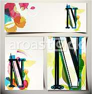 Artistic Greeting Card Font vector Illustration - Letter N