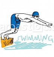 Swimmer jumping