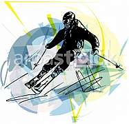 Illustration of skier skiing downhill on abstract background