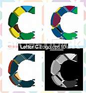 Colorful three-dimensional font letter C