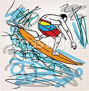 Surfing sketch illustration