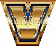 Golden Font Letter v