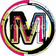 Colorful Grunge Font LETTER M