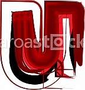 Artistic font letter u