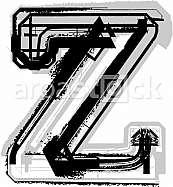Grunge Font. Letter z