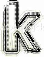 Font illustration. Letter k