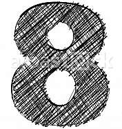 Hand draw font. NUMBER 8
