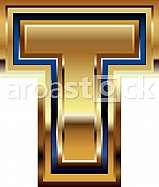 Golden Font Letter T