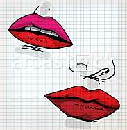 Lips of woman sketch illustration