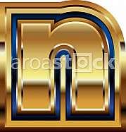 Golden Font Letter n