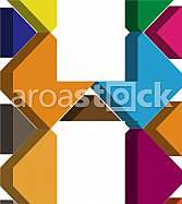 Colorful three-dimensional font letter H
