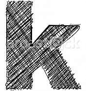 Hand draw font. LETTER k