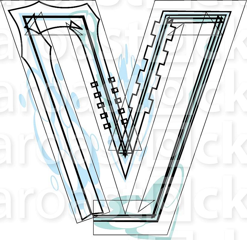 Font illustration letter v