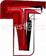 Artistic font letter T