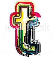 Colorful Grunge LETTER t