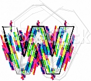 Font illustration, letter w