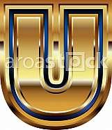 Golden Font Letter U