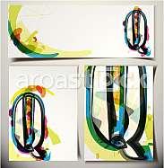 Artistic Greeting Card Font vector Illustration - Letter Q
