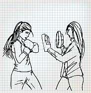 Woman boxer sketch illustration