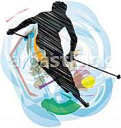 Skiing vector illustration