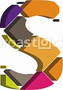 Colorful three-dimensional font letter S