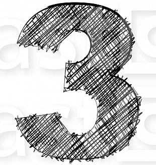 Hand draw font. NUMBER 3