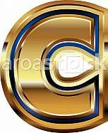 Golden Font Letter C