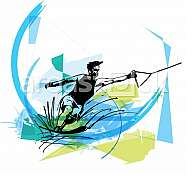 Water skiing abstract vector illustration