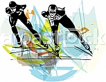 abstract illustration of speed ice skaters at colorful ice rink