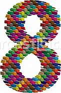 Colorful three-dimensional font number 8
