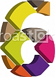 Colorful three-dimensional font number 6