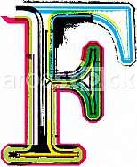 Font illustration, letter F