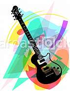 colorful electric guitar illustration on abstract background