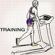 Illustration of Athletic woman on gym class walk treadmill running deck
