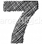 Hand draw font. NUMBER 7