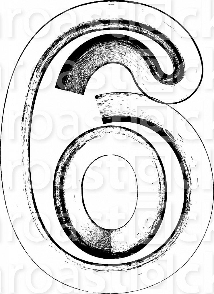 Grunge Font. Number 6