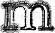 Font illustration. Letter m