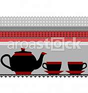 Teapot and cups illustration