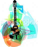 colorful guitar illustration on abstract background