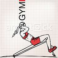 Illustration of Athletic woman exercising
