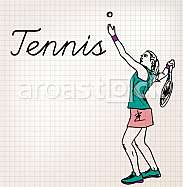 Tennis players sketch illustration