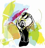 Illustration of volleyball player playing on abstract background