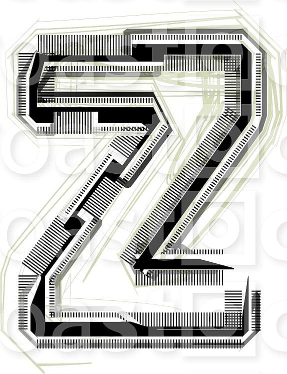 Font illustration. Letter z