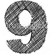 Hand draw font. NUMBER 9