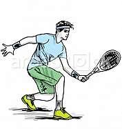 Sketch of man playing tennis