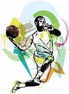 Sketch of basketball player with abstract background