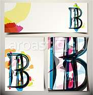 Artistic Greeting Card Font vector Illustration - Letter B