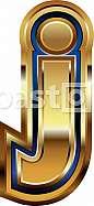 Golden Font Letter j