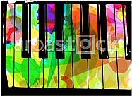 colorful piano illustration on abstract background