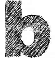 Hand draw font. LETTER b